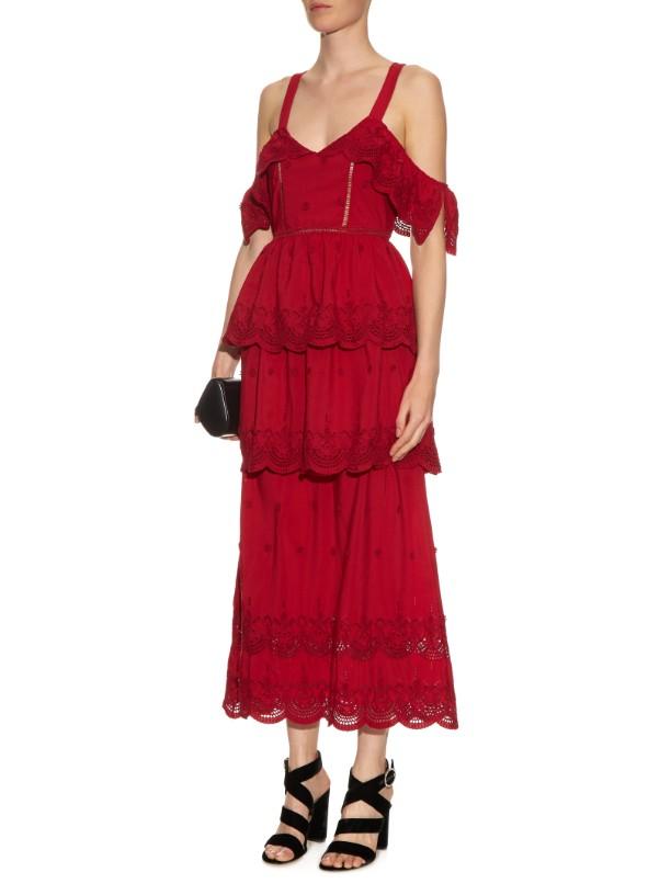 self-portrait raspberry tiered dress