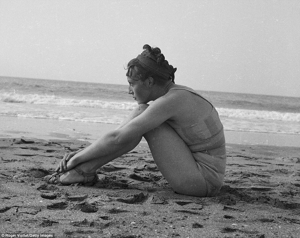 vintage beach woman thinking